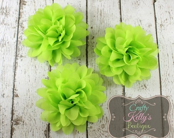 Lime Chiffon Puff Flower, 4-5 inch Size, Chiffon Petals, Headband Flower, DIY Headband Supply
