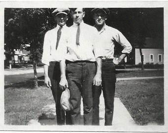 Old Photo 3 Men on Sidewalk wearing Hats 1920s Photograph snapshot vintage