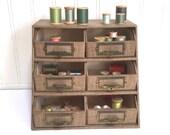 Vintage THREAD CASE - Sewing Box - Industrial Drawers - Thread Cabinet - Storage Case