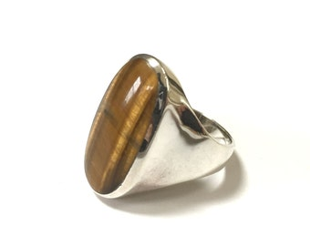 VINTAGE Tigers Eye Ring - 925 Sterling Silver Mens Womens Ring - Size 10.75 - Thailand