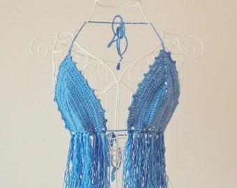 Crochet Bikini,Top,Fringe Bikini,Swimwear,Beachwear,Beachwear,Festival Top.