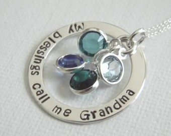 """My Blessings, Grandmother necklace, Sterling Silver,  Personalized Grandma necklace, Nana Necklace, 1"""" Washer and 5 birthstones, Custom Name"""