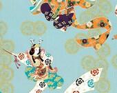 Japanese Kimono Cotton Fabric, Grey Blue Cotton With Gilding Dancing Geisha For Kimono Bag Dress - Fabric 1/2 yard