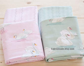 "Swan Cotton Fabric, Light Green Pink Cotton White Swans Fabric, Girl's Dress Quilting Favric - Fabric 1/2 yard 18""X63"""