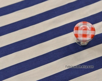 Navy Blue White Wide Stripes Cotton Fabric Navy Style Soft Farbic- 1/2 yard