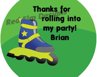 "Rollerblade Stickers Personalized- Sheet of 20 - 2"" round.  Roller Skate Birthday Party Favors.  2 Inch Round Rollerblade Stickers"