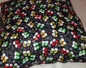 Black Mitten, Button and Snowflake Decorative Winter Pillow