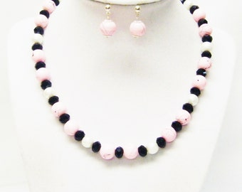 Pink Splatter Bead Necklace & Earrings Set for Child