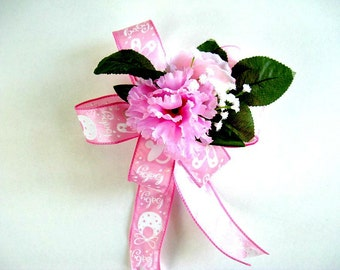 Pink baby shower bow, It's A Girl gift bow, Gift for new moms, Gift wrap bow, Baby shower decoration, Large gift bow new baby girls (BG41)