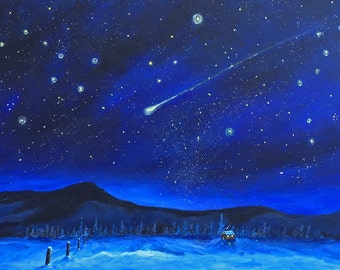 Original woodland winter cabin landscape Shooting stars comets evening cosmos plants winter snowfall peaceful cabin peace lodge decor rustic