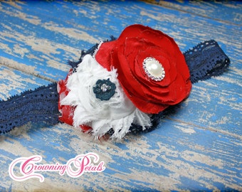 Red, White, Navy Hair Bow, July 4th Hair Piece, July 4th Hair Clip, Navy Blue Headband, Fourth of July, Baby Headband, Hair Accessories, Bow