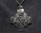 Silvertone Celtic Cross Pendant With Chain