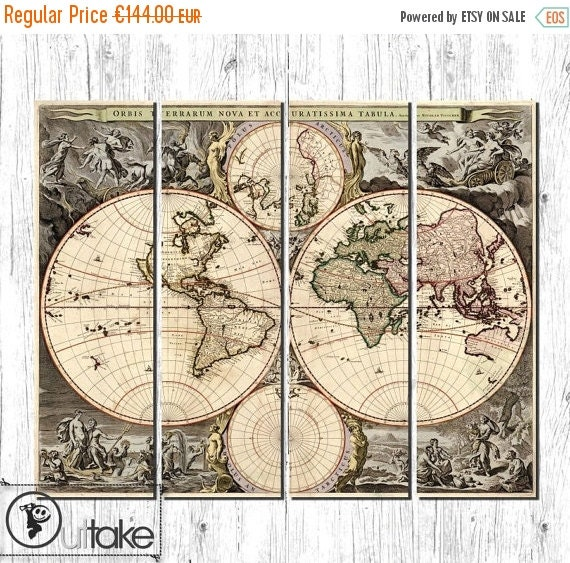 Antique world map Large canvas wall art ready to by OuttakeCanvas