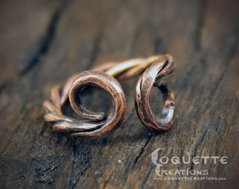 Aged Twisted Spiral Copper Ring