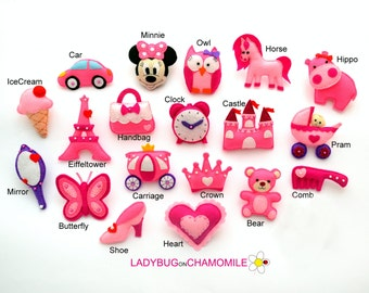PRINCESS BABY GIRL pink cute magnets, gifts, girls room decor - price per 1 item - make your own set - Castle,Minnie,Crown,Pram