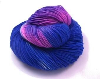 Yarn-  Handpainted Sockyarn with Merino  - hand dyed Yarn - Fingering yarn -  blue, lilac for knitting socks or shawls -