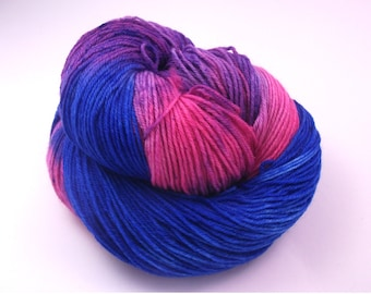 Yarn - Hand painted Sockyarn Merino - Sock Yarn Fingering - variegated yarn - blue, lilac, magenta - knitting wool - hand dyed yarn - OOAK *