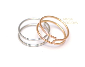 Double Knuckle Ring Gold/Silver/Black trendy mid-finger ring/metal midi ring/stacking ring/above the knuckle ring/modern fashion minimalist
