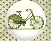 Vintage green bike melamine plate