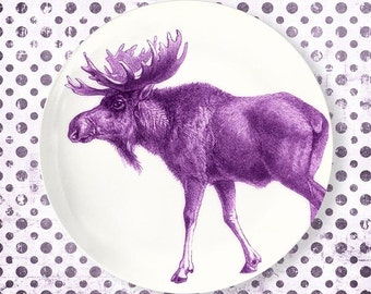 Moose, radiant orchid moose melamine plate or platter