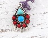 Tibetan Tribal Gemstone Pendant Connector, Vintage Style Pendant, 1 piece // SC-177