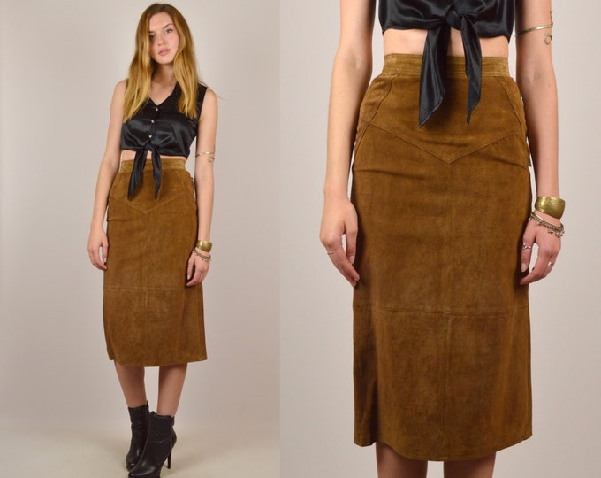 Brown Suede High Waist Pencil Skirt Vintage