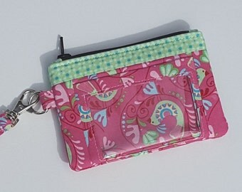 Zippered Wristlet, ID Pocket Wristlet, Pink and Green Wristlet, Bird Wristlet, Floral Wristlet