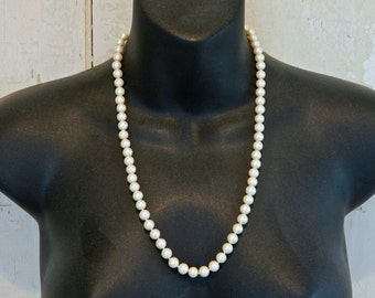 "Vintage Faux Pearl Necklace Monet Classic 22"" Glass 8 mm Perfect 1960s"