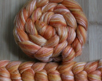"Merino Silk 'GLISTEN Roving' in ""Sedona Sunset"" colorway - Orange, pumpkin blend - Spinning Felting Braid Fiber"
