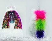 CUSTOM Lisa Frank inspired scoodie Unicorn hood festival hood animal hat unicorn hat