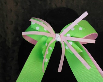 Double ribbon six inch splash bow