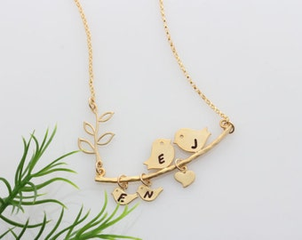 Gold Lovebird Necklace, Gold Bird necklace, Baby Shower Gift, Choose up to 5 baby birds, Custom jewelry. Lovebirds pendant jewelry.