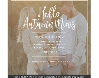 Fall Mini Session Template, Photography Marketing Templates, Marketing Board, Advertisement Template, Photoshop Templates - AD222
