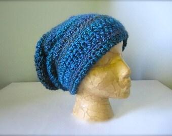 Crochet Turquoise, Teal, Purple, Plum, Blue Slouchy Hat, Beanie Hat, Men's Hat, Women's Hat