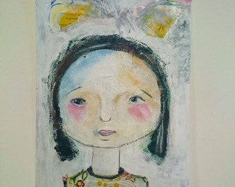 acrylic painting , Portrait of an Asian woman , on paper , collage , mixed media, pencil