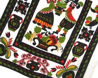 Pennsylvania Dutch Kitchen Towel - Pennsylvania Dutch Tea Towel - German Folk Art Tea Towel - Free Shipping - 6HTT16