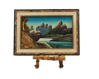 Vintage 3D Landscape Painting - Japan Art Painting - 1950s Kitsch Painting - Cabin Glamper Decor - Free Shipping - 3ATT16