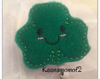 Smiley Shamrock Badge Holder-Shamrock ID Holder-Shamrock Retractable Badge-Shamrock Lanyard-Irish Lanyard-Irish Badge
