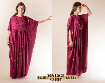 Dark Pink Lilac  Caftan dress Lounge wear House dress  /  70s vintage  House dress  Large Mumu dress / Medium to Plus size