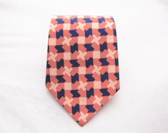 Men's Necktie - Coral & Navy Tesselate