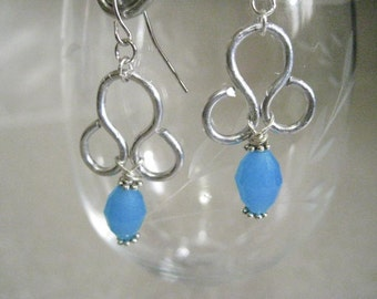 Blue and Silver Wire Wrapped Earrings