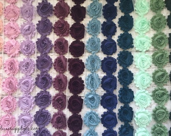 Shabby Chiffon Flower Trim - NEW COLORS Summer 2016!! Your choice of colors and length 1/2 yard or 1 yard - Chiffon Rosette Flower Trim