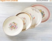 On Sale Vintage Mismatched Shabby Cottage Style Plates Set of 4, Dessert Plates, Bread and Butter, Wedding, Tea Party