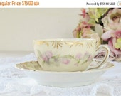 On Sale Antique Old Ivory Espresso Small Tea Cup and Saucer Set, Supplies, Shabby Chic, Cottage Style, Princess Tea Party Craft Supplies, Ca