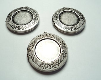 3 pcs - Antique silver plated round 30mm brass lockets with setting -  m205rso