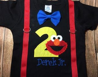 Custom boys Sesame Street elmo birthday shirt with suspenders and bow tie