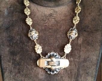 SALE -1930s  Vintage Art Deco Brass Necklace. Vintage 30s Ladies Necklace/ Estate Jewelry