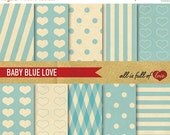 80% off Digital SCRAPBOOKING Paper Pack Retro Baby Blue LOVE Valentines patterns with INSTANT Download Valentines Paper