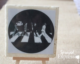 "The Beatles on Abbey Road Coaster, 4""x4"""