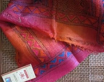 Indian Festival -- Magenta Rust Silk Kantha